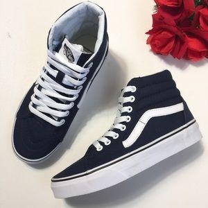 New Vans Canvas Sk8-Hi Dress Blue White Sneakers